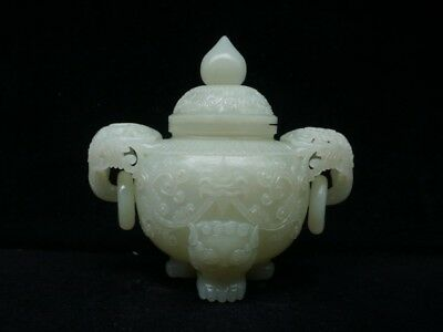 Chinese Exquisite Hand-carved beast carving Hetian jade pot