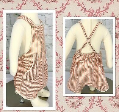 Vintage Baby Boy Red Striped Romper Summer Overalls Very Cute