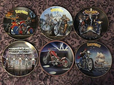 6 Plates From Collection by David Mann EASYRIDERS with Paperwork