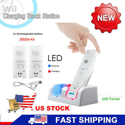 White Dual Remote Charging Dock Station and 2 Rechargeable Batteries For Wii US