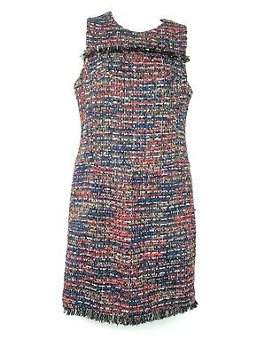 95a2c48d Ann taylor womens dress size 2P sheath tweed frayed sequins black blue red  NWT