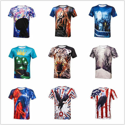 c42eacd1e757 Men Funny Summer Fit T Shirts 3D Animal Hawk Green Frog Print Tops 3XL  Cotton