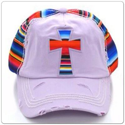 16e9f924b192d SERAPE CROSS Cap hat Cowgirl Western Gypsy Southwest Lavender Distressed