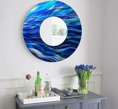 LARGE ROUND SILVER Contemporary Metal Wall Mirror Art Accent Decor ...