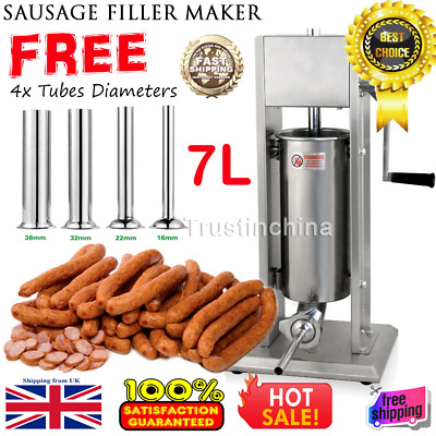 20lb 7L Stainless Steel Vertical Sausage Stuffer Commercial Restaurant Manual