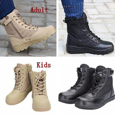 Kids Adult Military Tactical Deploy Men Boot Outdoor SWAT Boots Duty Work Shoes