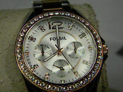 8c04572d67a7 FOSSIL WOMENS ES2787 Riley Two-Tone Stainless Steel Watch Day Date - New  Battery -  24.95