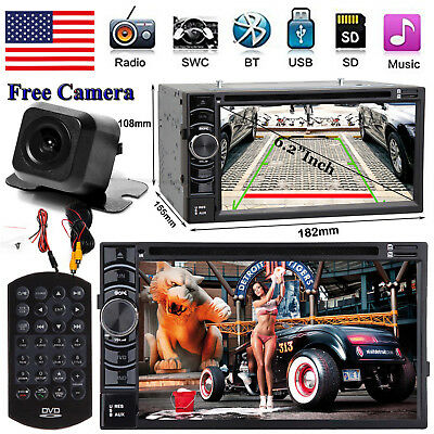 """Bluetooth Radio Double 2 Din 6.2"""" Car Stereo CD DVD Player HD AUX& Backup Camera"""