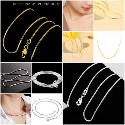 Women's 925 Silver & 18k Gold Plated Snake Chains Necklace 16-30'' Fashion Gifts