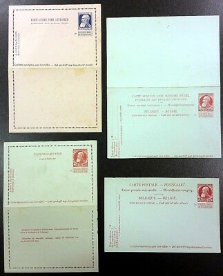 BELGIUM • Early 1900's • 4 unused postal/reply cards/letters