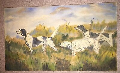 Vintage ENGLISH POINTER DOG  PAINTING Landscape , Hunting Scene 1940 TUTT