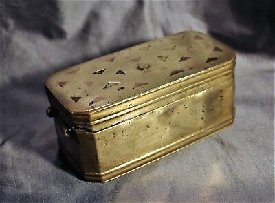 Old East Indian or Philippine Brass Betel Nut Box with Copper Inlaid Lid c. 1880