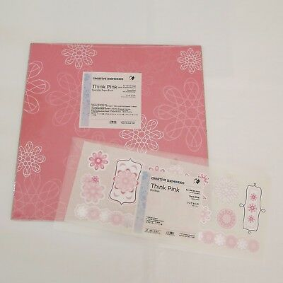 Creative Memories Think Pink 12x12 Speciality Paper Pack & Sticker Sheet BNIP