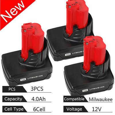 (3-PACK) For MILWAUKEE 48-11-2412 M12 XC HIGH CAPACITY LITHIUM-ION BATTERY M12B