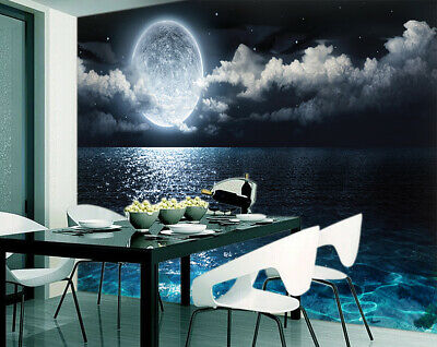 3D Ocean With Moon View Removable TV Background Self adhesive Wallpaper Mural
