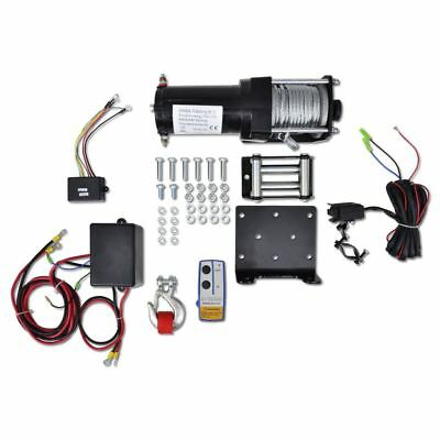 12V Electric Winch 1360kg/3000Lbs Plate Roller Fairlead Wireless Remote Control