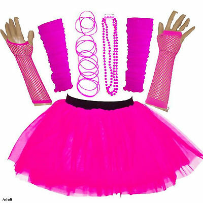 Adults Womens Hen Party 80's Fancy Dress Accessories Neon Tutu Skirt Bangle Pink