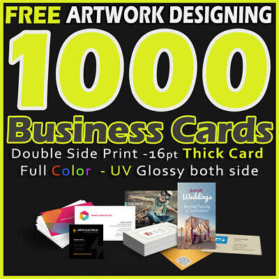 1000 Business Cards Full Color 2 Side Printing UV Coated-Free Design & Shipping