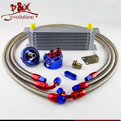 50mm 16 Row AN-8/AN8 Engine Transmission Oil Cooler + Filter Relocation Kit blue
