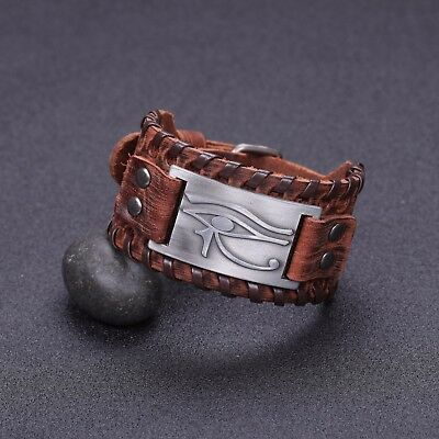 Ancient Talisman Egyptian Pagan Evil of Horus Metal Charm Brown Leather Bracelet