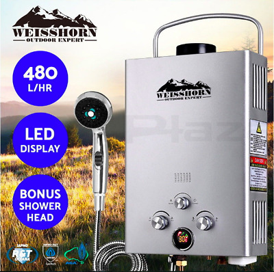 Gas Hot Water Heater Lightweight LED Shower Head Camping LPG Outdoor Silver 4WD