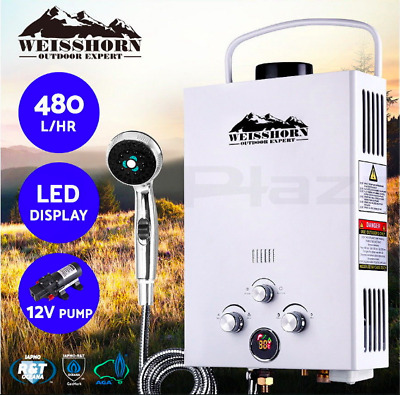 Gas Hot Water Heater LED Shower Head Camping LPG Outdoor 12V Pressure Pump