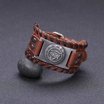 Ancient Talisman Pagan Evil of Horus with Egyptian Writting Metal Charm Bracelet