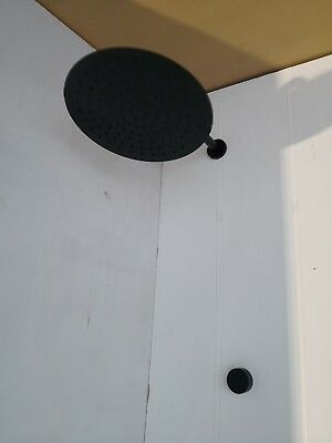 New Matte Black shower head set 300 mm DIA round wall arm ceiling arm new mixer
