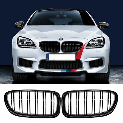 FOR 11-16 MW F10 F11 5 Series M5 Front Kidney Grill Double Line Gloss Black as7