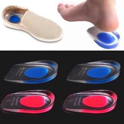 Silicone Gel Heel Inserts Support Insole Cushion Pain Relief Plantar Fasciitis