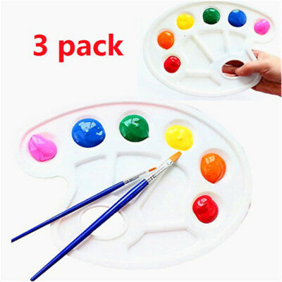 3pcs Paint Tray Palettes Thumb Hole Acrylic Oil Watercolor Paints Paint Brushes♫