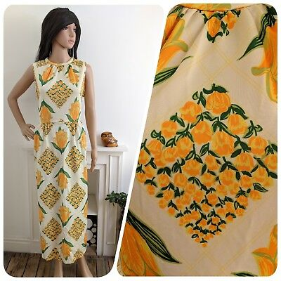 Vintage 1960s Yellow Tulip Floral Print Maxi Evening Party Dress 60s 14 42