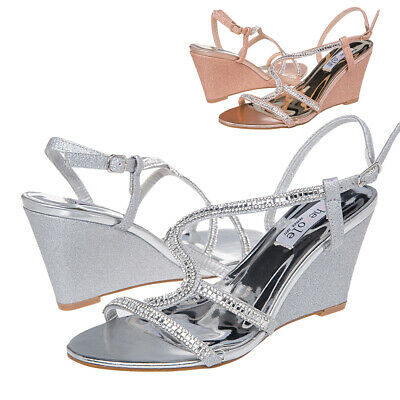 Womens Wedge Heel Sandals Bling Wedding Party Dress Silver Gold Shoes Size 5-11