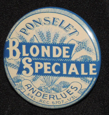 Pin Button Badge Ø38mm (bière) Brasserie PONSELET Blonde Speciale  ( ANDERLUES )