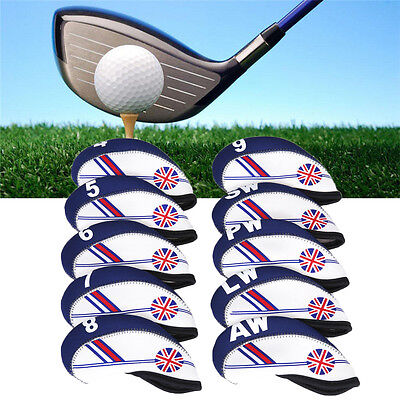 10x Neoprene UK Flag Golf Club Headcover-Head Cover Iron Protect Set UK-,