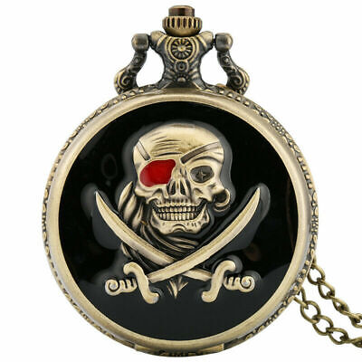 Retro Bronze Skull Pirate Round Analog Quartz Pocket Watch Necklace Chain Gifts