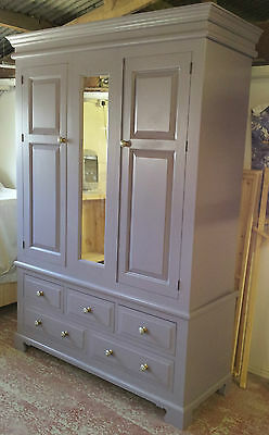 Painted Fancy Edwardian Triple Wardrobe with mirror, drawers and cut out plinth