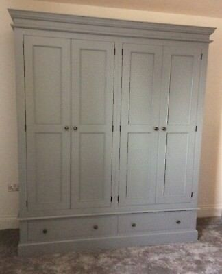 Painted 4 Door Wardrobe over 2 drawers, Edwardian style