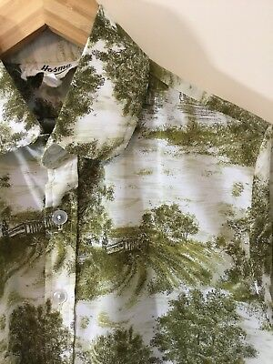 ORIGINAL VINTAGE 50's 60's SCENIC PRINT SHIRT Rockabilly RETRO