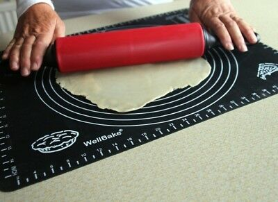 WellBake Silicone Fondant Cake Dough Pastry Rolling Mat with measurements.