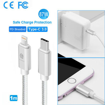 87W USB C Power Adapter AC Charger+1M Type C to Lightning Cable for iPhone X/8+