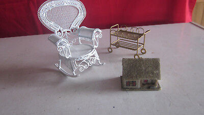 Lundby Vintage Dollhouse Furniture-Rocker, Cart and Little House