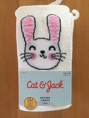 Cat & Jack Girl's Size 12-14 (73-95lbs) White Bunny Footed Tights - Easter - New