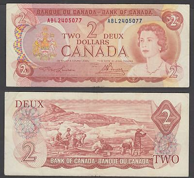 Canada 2 Dollars 1974 (F-VF) Condition Banknote QEII P-86a