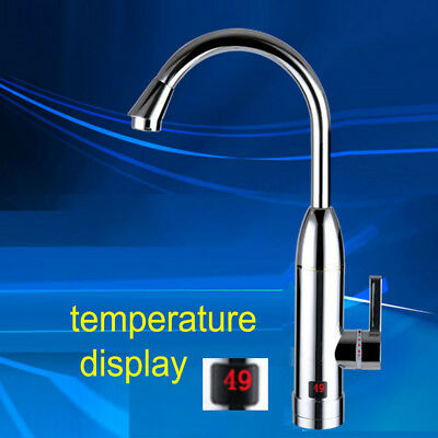Electric Heater Faucet Tap Hot Water Instant 360° LED for Bathroom Kitchen