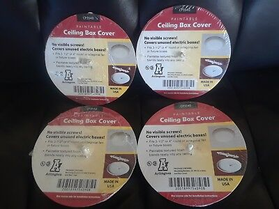 """4× ARLINGTON CP3540 Paintable Ceiling Box Covers, 3-1/2""""- 4"""" Round/Octagonal"""