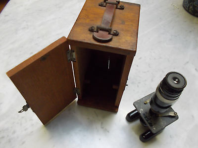 Vintage antique Flatters and Garnett field pocket microscope with wood box