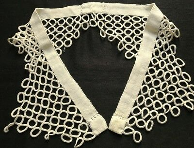 """Flapper Era Antique Crocheted Rings Lace Two Part Collar each16 x 6 1/2"""" AS IS"""
