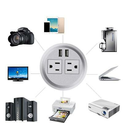 """Table Desktop Power Grommet Outlet US Plugs 2 USB Ports Charger Computer 3"""" Inch"""