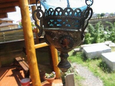 Old Russian, Lamp for Icon,Lampada Orthodox Antique old bronze with blue  Glass